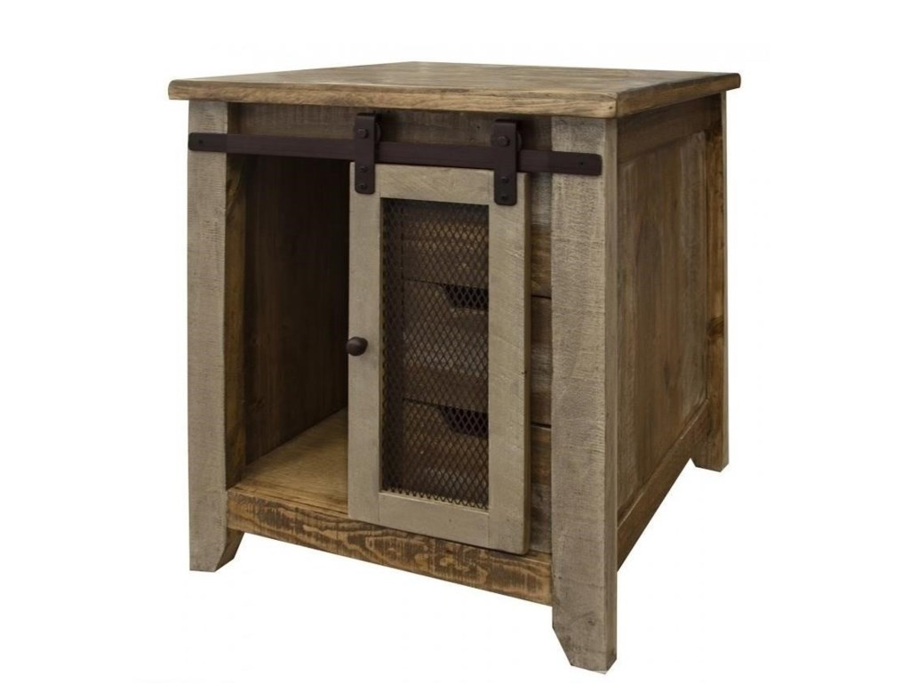International Furniture Direct 900 AntiqueEnd Table with 1 Door and 3 Drawers