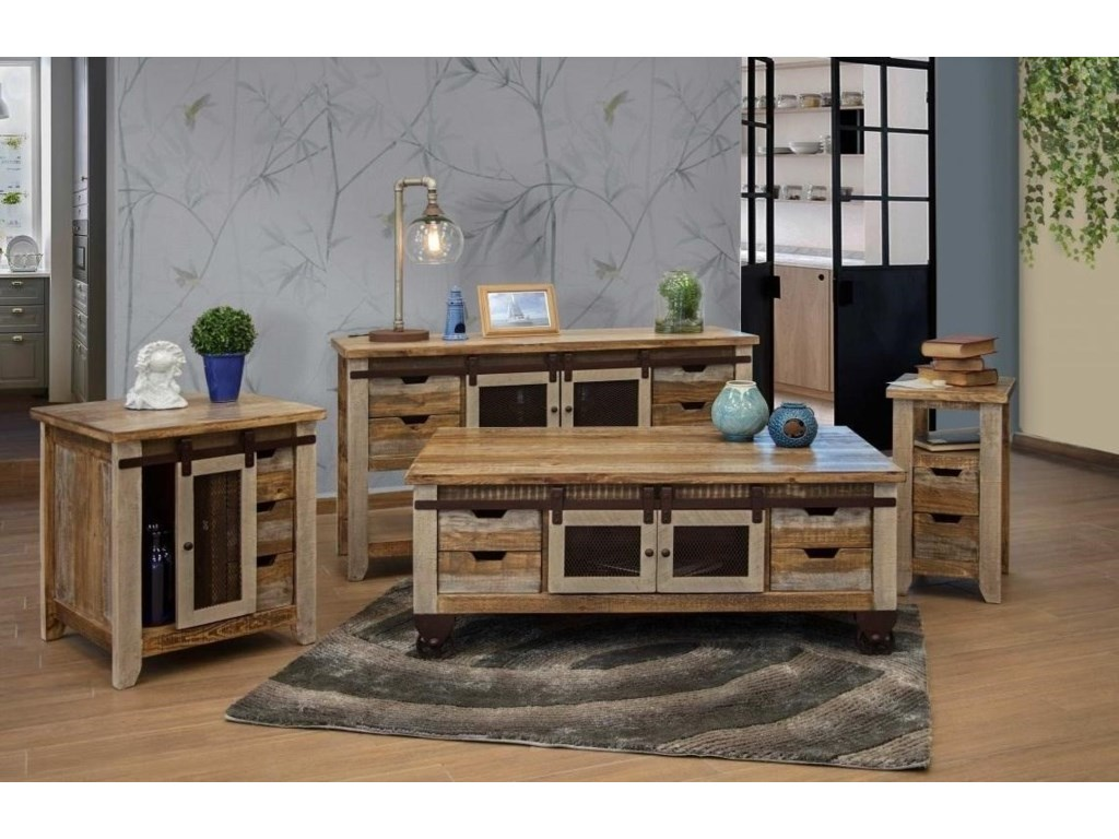 International Furniture Direct 900 AntiqueSofa Table with 2 Doors and 4 Drawers