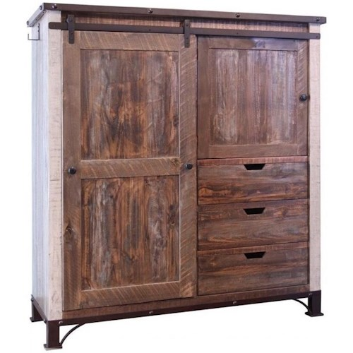 International Furniture Direct 900 Antique Rustic Gentleman's Chest with  Sliding Door - International Furniture Direct 900 Antique Rustic Gentleman's Chest
