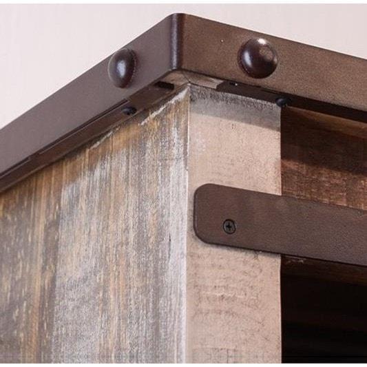 International Furniture Direct 900 AntiqueGentleman's Chest with Sliding Door