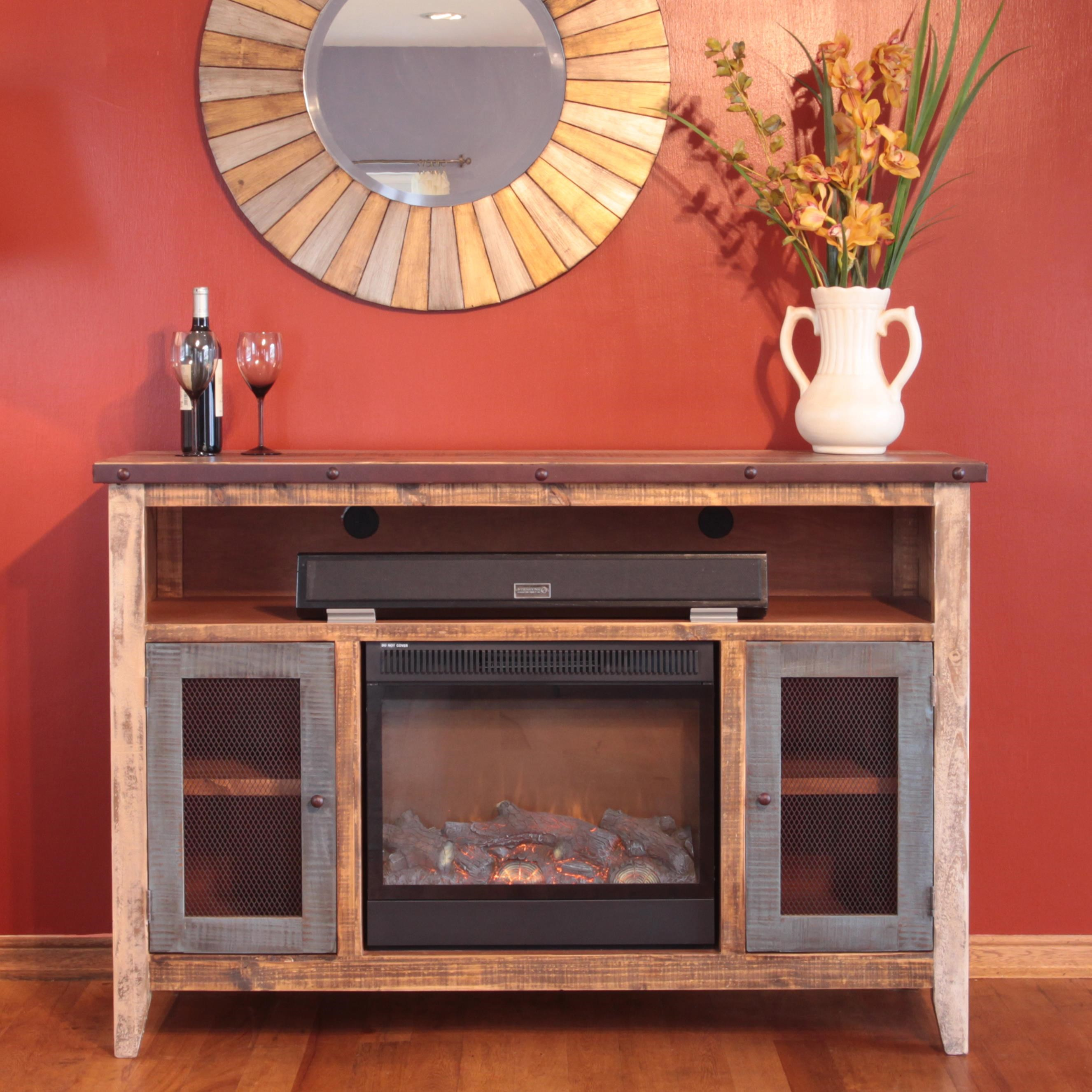900 Antique Fireplace TV Stand With Soundbar Component Area By  International Furniture Direct