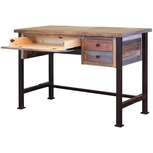 International Furniture Direct 900 Antique Writing Desk with Distressed Finish