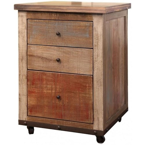 International Furniture Direct 900 Antique 3-Drawer File Cabinet