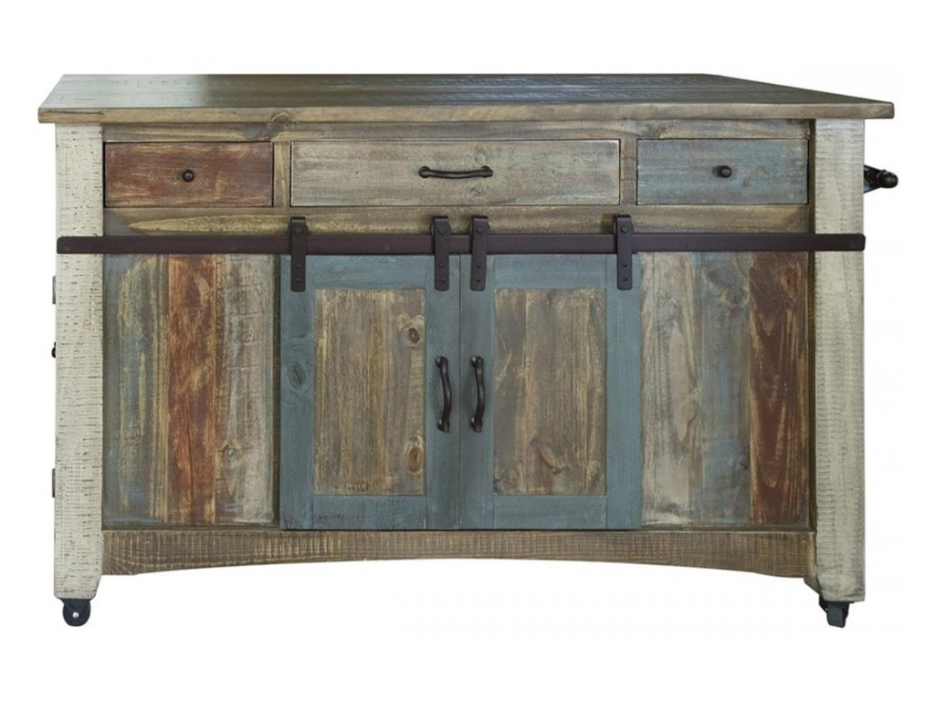 International Furniture Direct 900 Antique Rustic Solid Wood 3