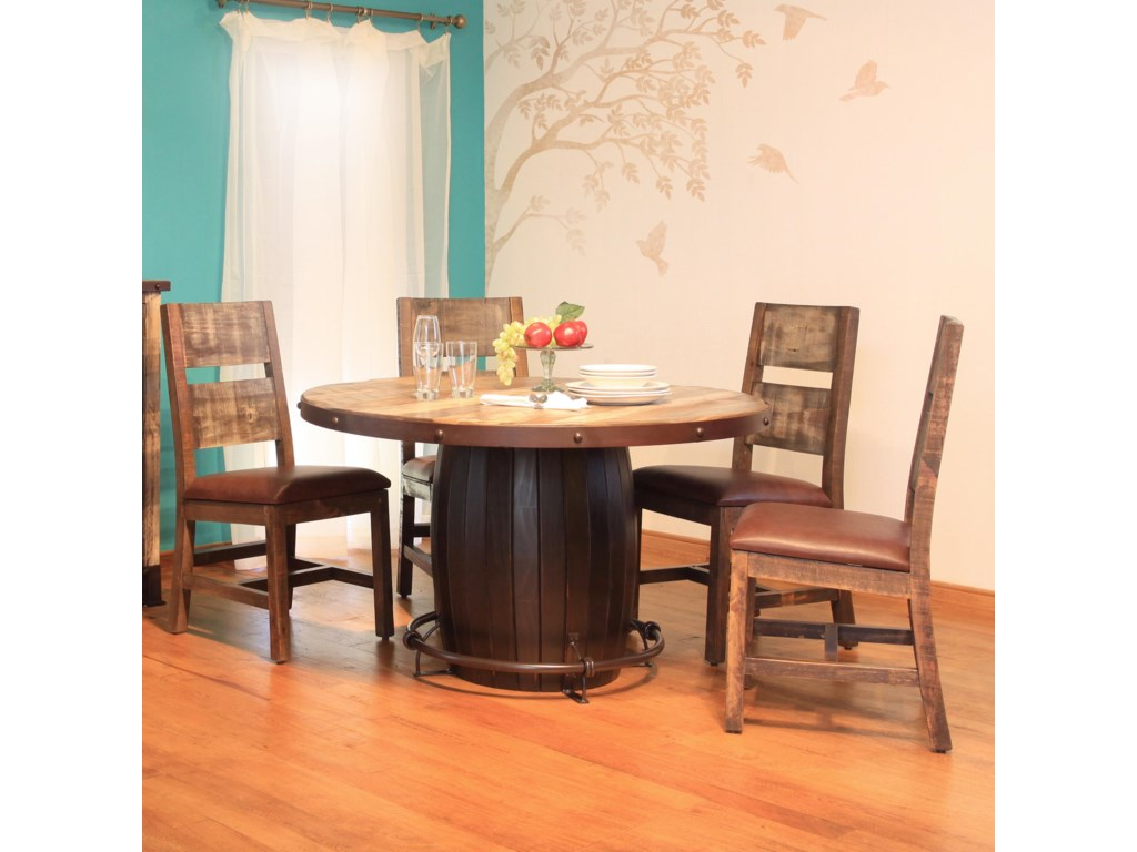 International Furniture Direct 900 Antique 5 Piece Dining Set with ...