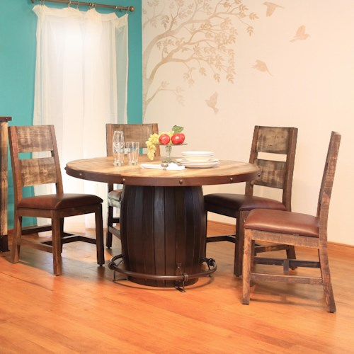 International Furniture Direct 900 Antique 5 Piece Dining Set with Barrel Table