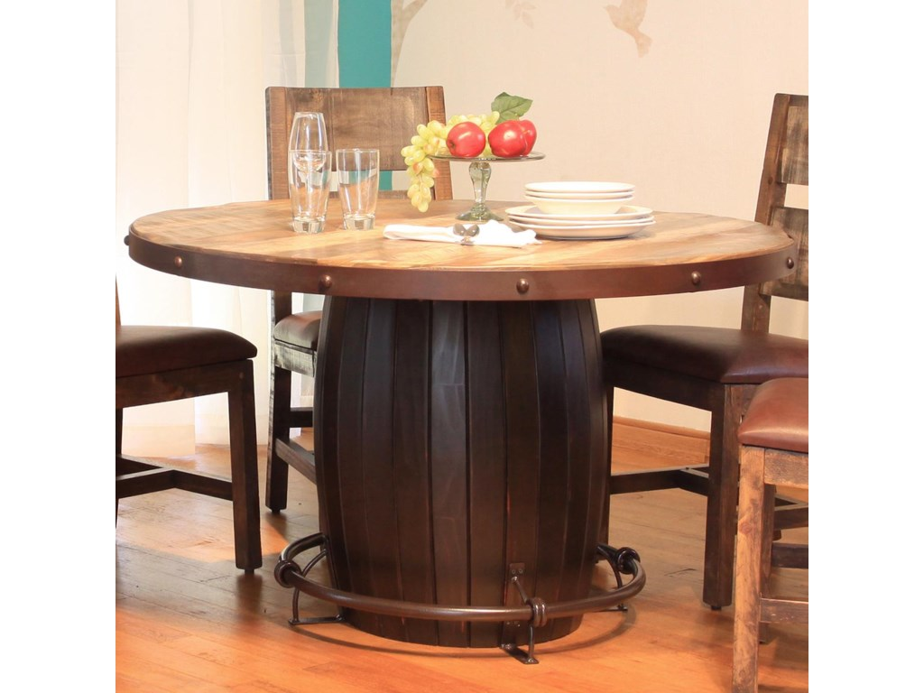 International Furniture Direct 900 AntiqueRound Dining Table with Barrell Base