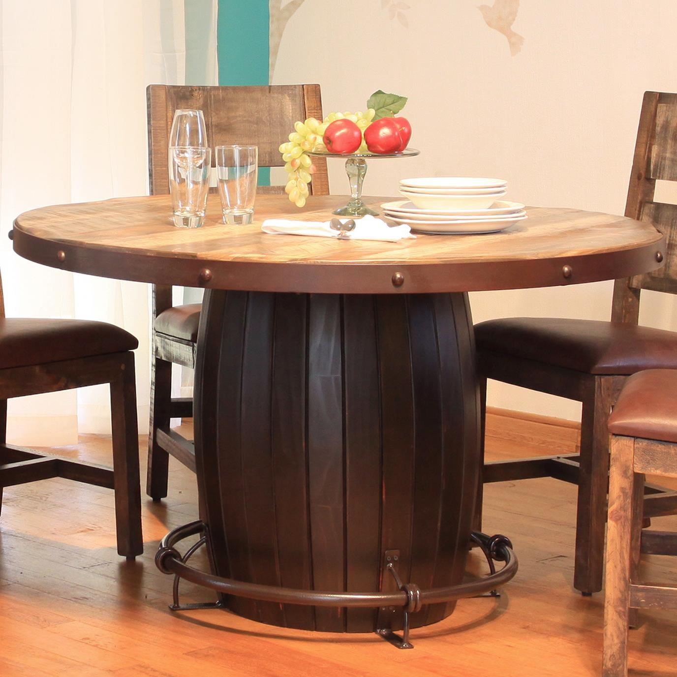 Artisan Home 900 Antique Round Dining Table With Barrell Base And Iron  Footrest