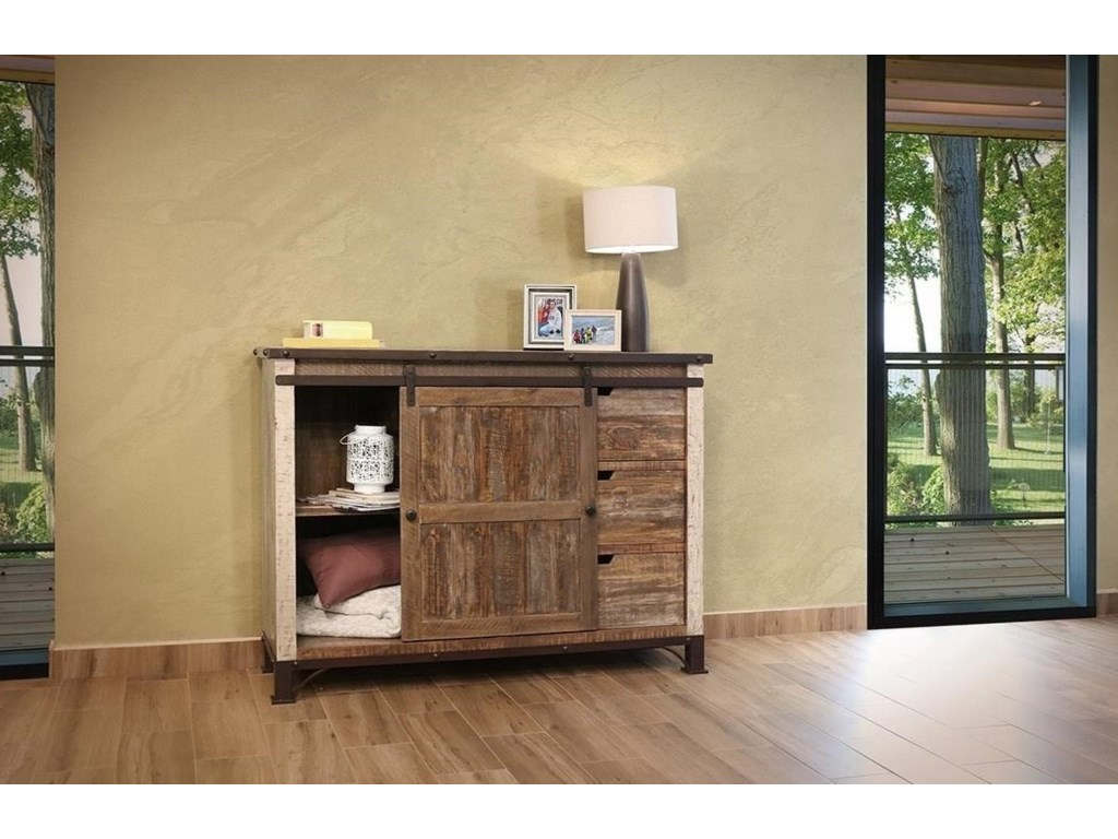 International Furniture Direct 900 AntiqueChest with 1 Sliding Door and 3 Drawers