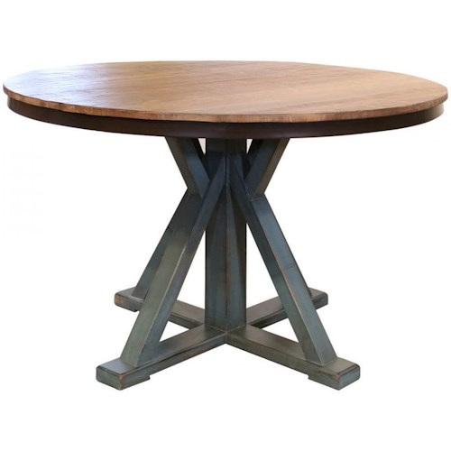 International Furniture Direct 900 Antique Round Dining Table with Pedestal Base