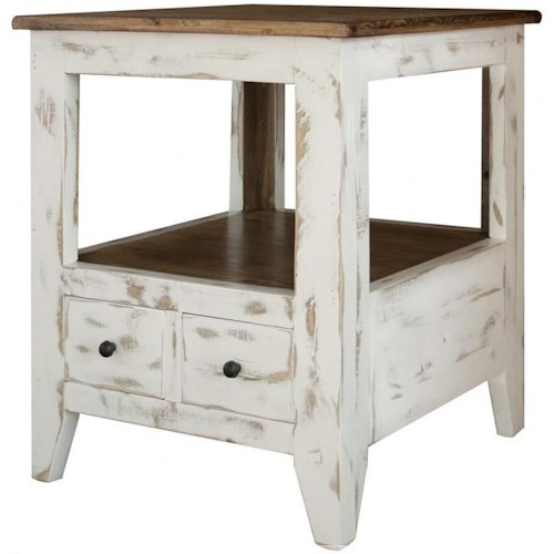 International Furniture Direct 960 Transitional Solid Wood 2 Drawer End Table