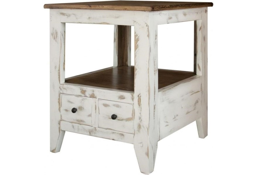 960 Transitional Solid Wood 2 Drawer End Table By International Furniture Direct At Zak S Home