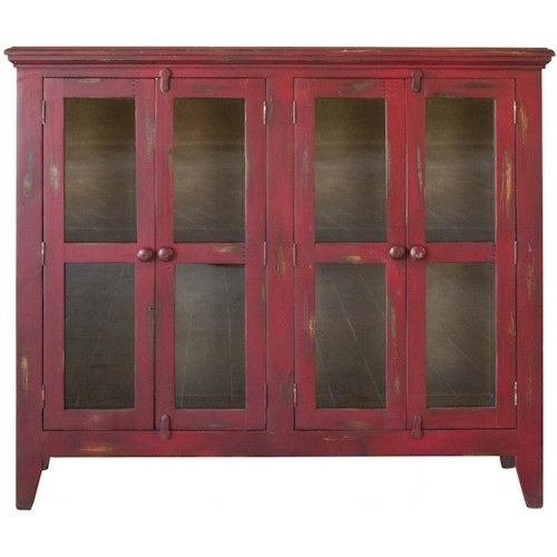 International Furniture Direct Antique Rustic 4 Door Solid Wood Accent Console
