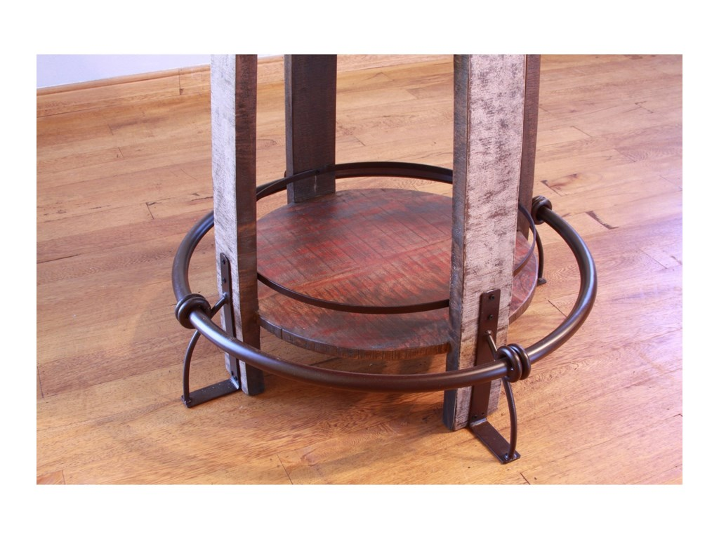 International Furniture Direct 967Rustic Bistro Barrel Bar Table