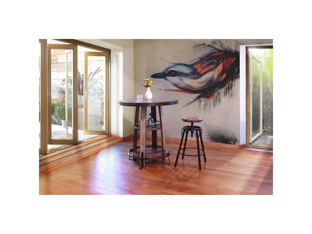 International Furniture Direct 967Rustic Bistro Barrel Table