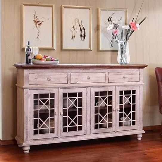 International Furniture Direct VintageConsole with 4 Glass Doors