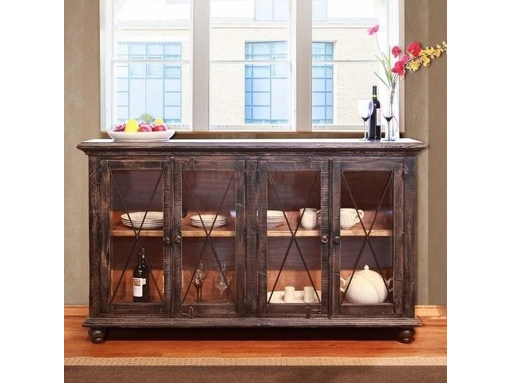 International Furniture Direct Vintage Console Table With Gl Doors