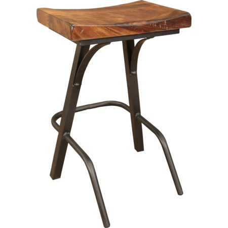"""24"""" Stool with Wooden Seat and Iron Base"""