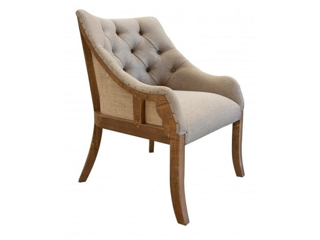 International Furniture Direct 900 AntiqueTufted Arm Chair with Deconstructed Backrest