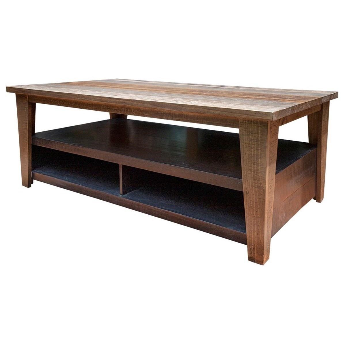 Rustic Cocktail Table with Hidden Casters