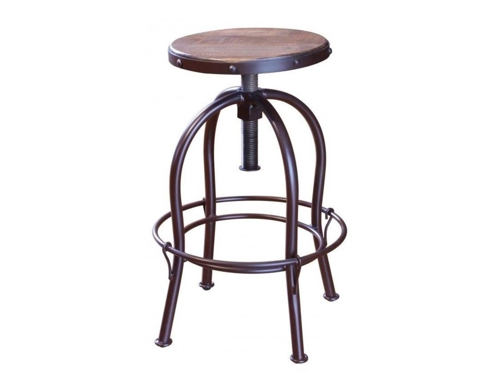 International Furniture Direct Antique 963Adjustable Height Swivel Stool