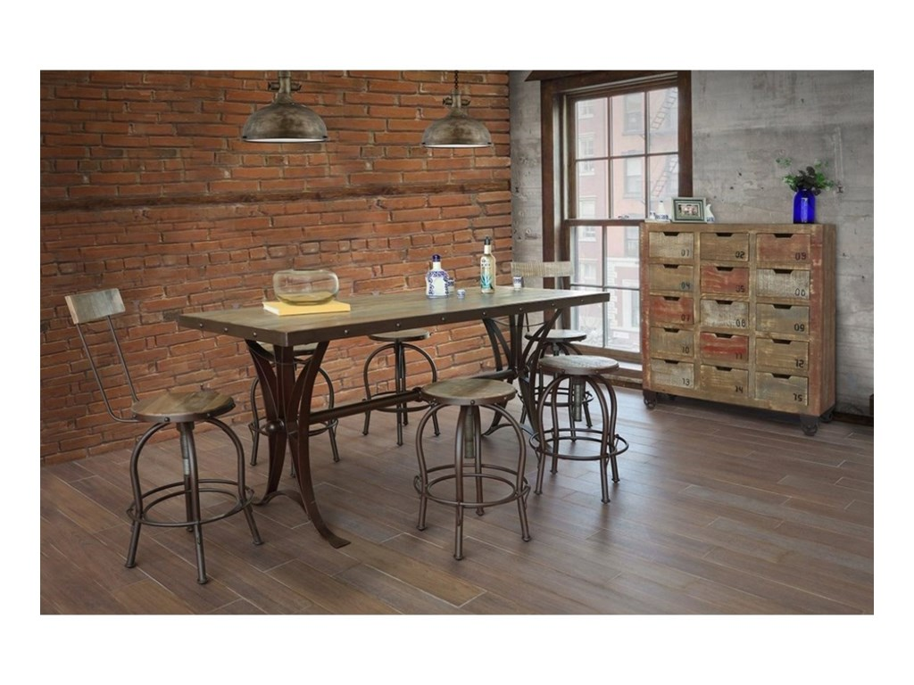 International Furniture Direct Antique 963Counter Height Dining Table w/iron Base
