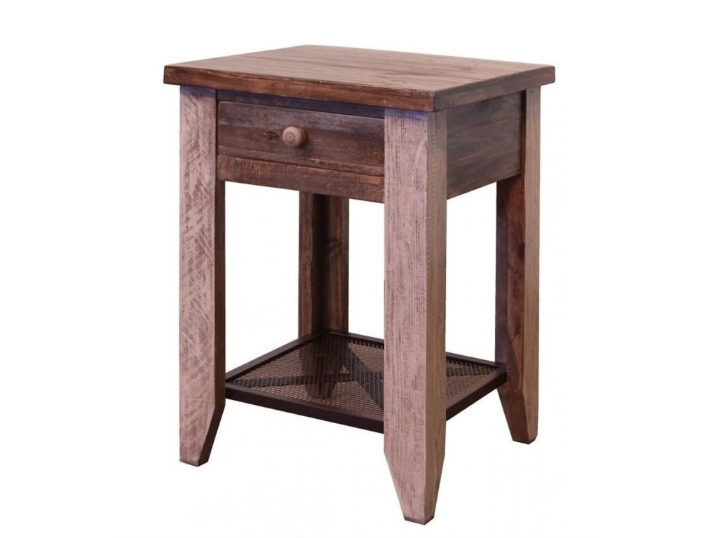 International Furniture Direct Antique 963End Table with 1 Drawer