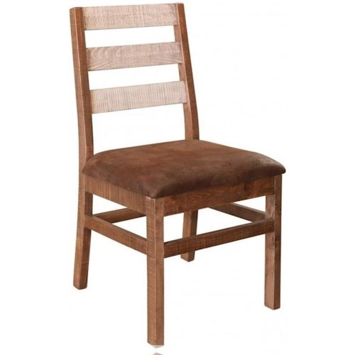 International Furniture Direct 965 Rustic Ladderback Chair with Upholstered Seat