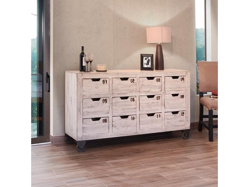 International Furniture Direct 965Multi-Drawer Console