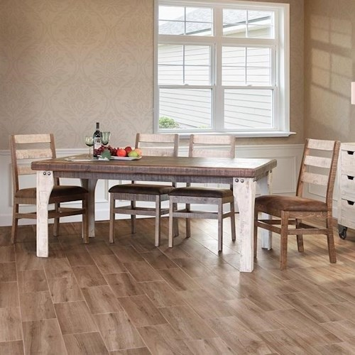 International Furniture Direct 965 Rustic Table and Chair Set