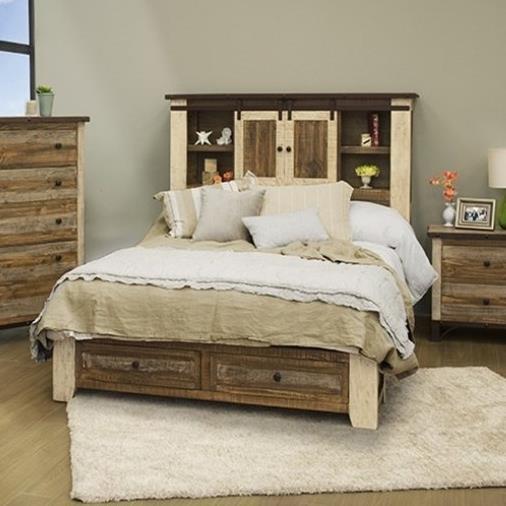 International Furniture Direct Antique Rustic Queen Storage