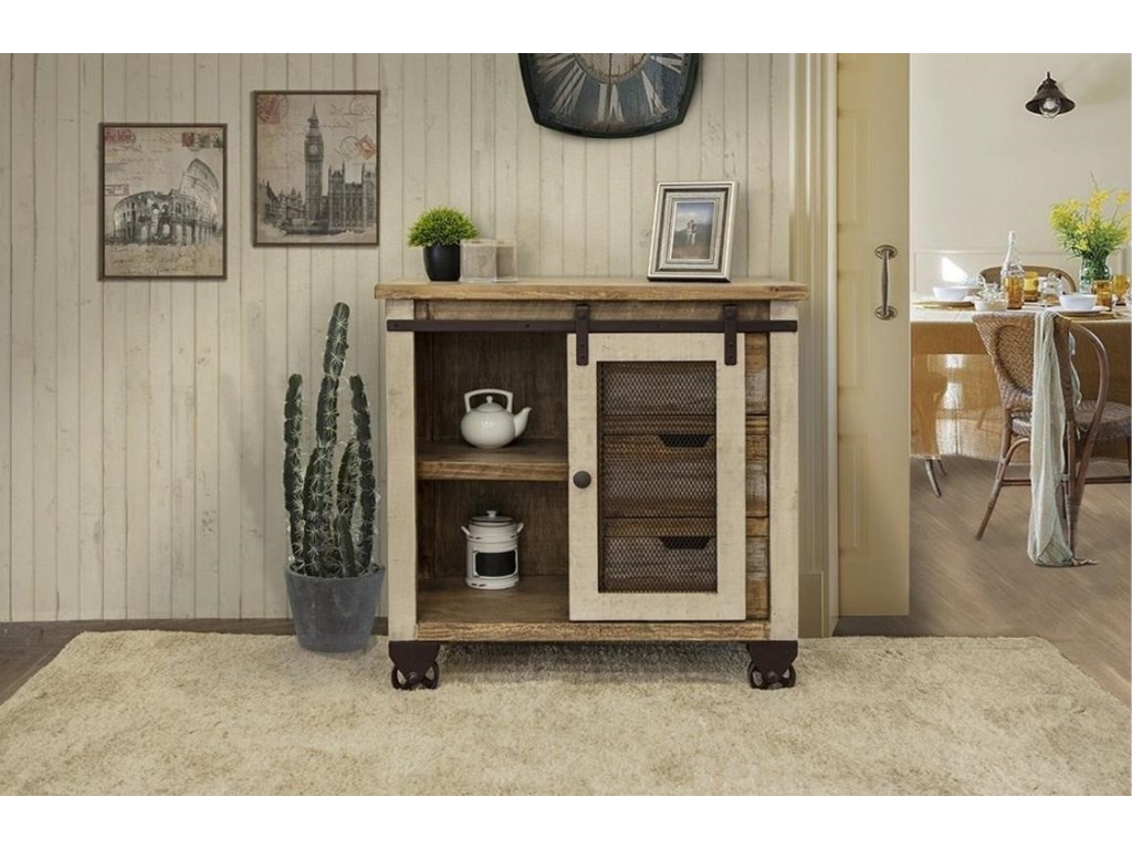 International Furniture Direct AntiqueServer with 3 Drawers and 1 Door