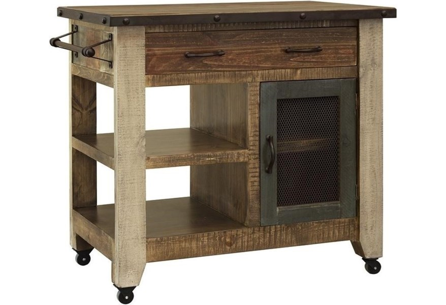 International Furniture Direct Antique Rustic Kitchen Island With 1 Drawer And Mesh Door Mart Colorado Islands