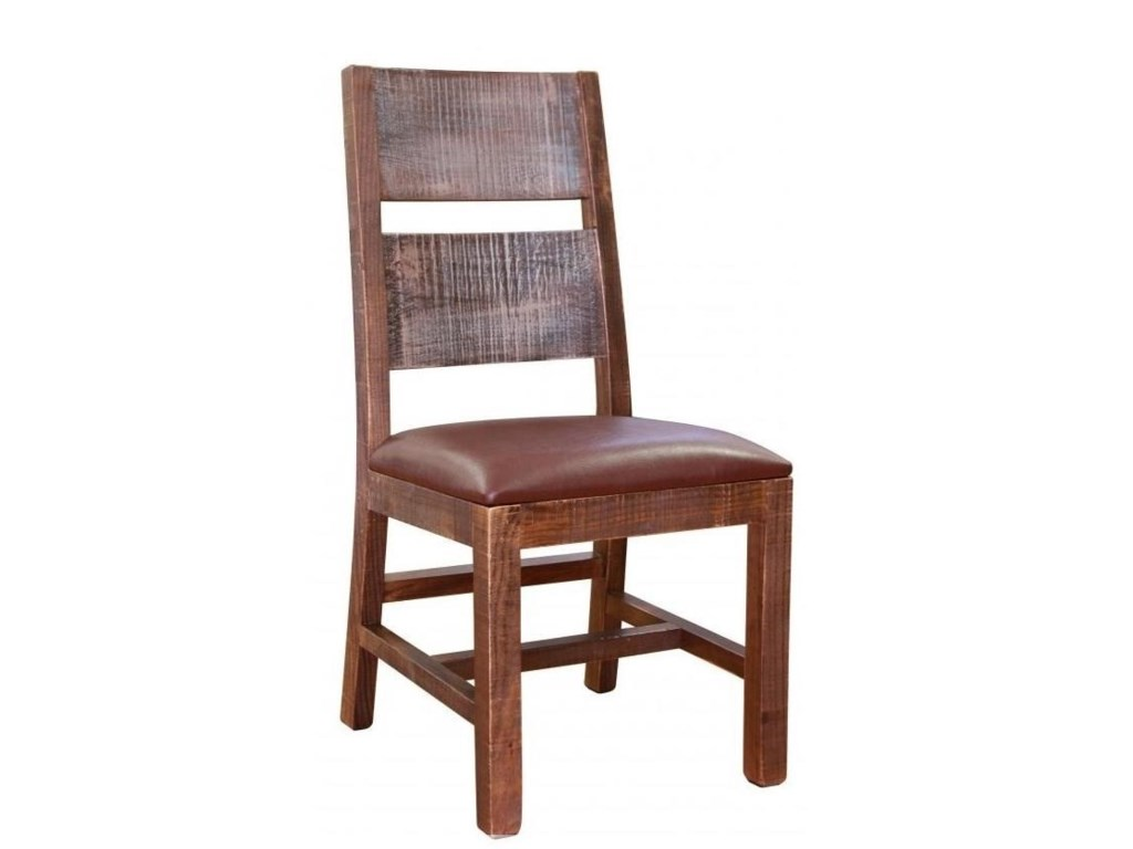 International Furniture Direct AntiqueMulticolor Chair with Faux Leather Seat