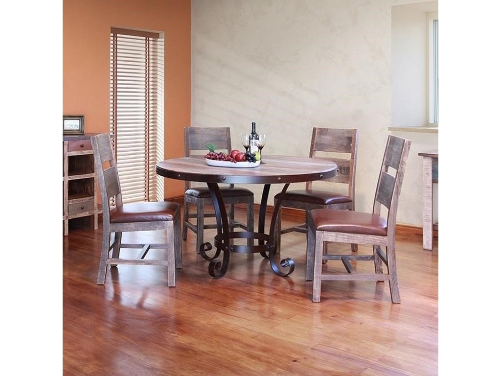International Furniture Direct Antique Rustic 5 Piece Dining Set