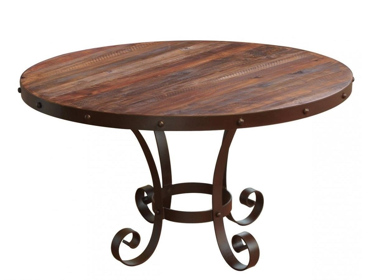 Rustic Round Table with Solid Wood Top and Metal Base