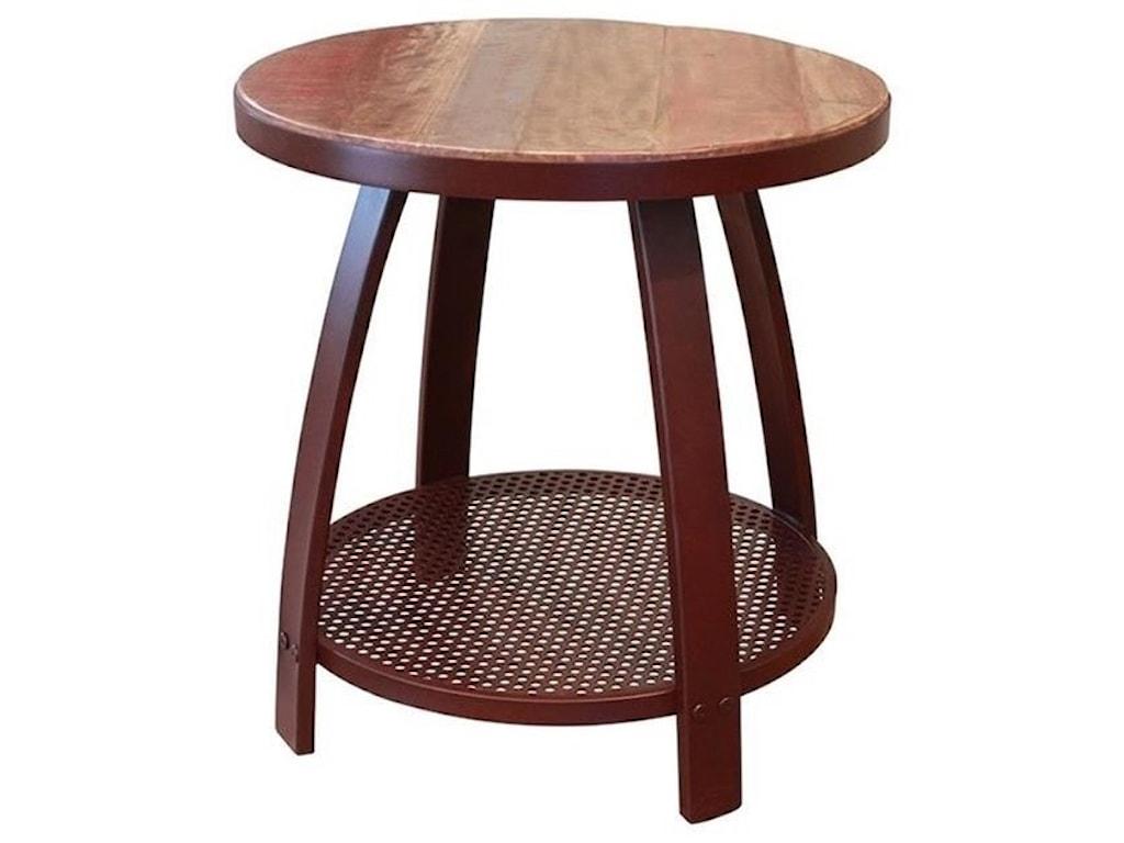 International Furniture Direct Antique IronEnd Table w/1 Iron Shelf