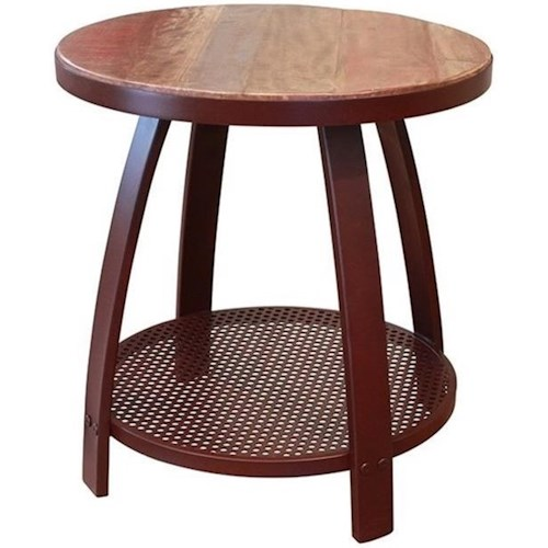 International Furniture Direct Antique Iron End Table w/1 Iron Shelf