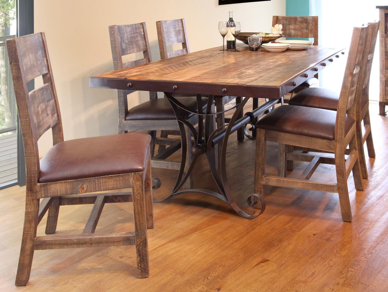 International Furniture Direct ANTIQUE MULTICOLOR 7 Piece Dining Set