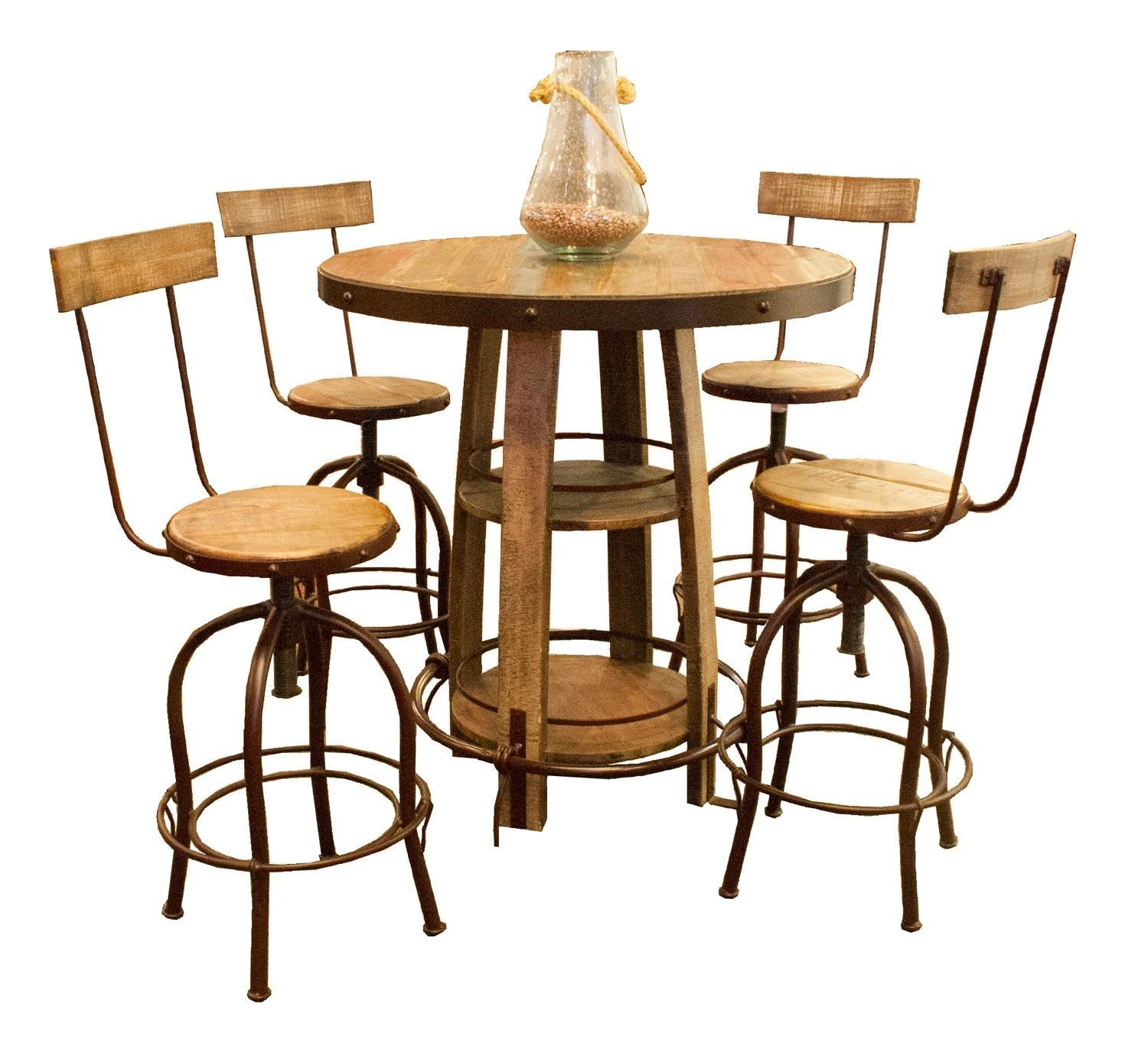 International Furniture Direct ANTIQUE MULTICOLOR Bistro Table