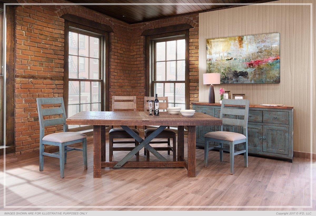International Furniture Direct 969 Antique Teal5 Piece Dining Set