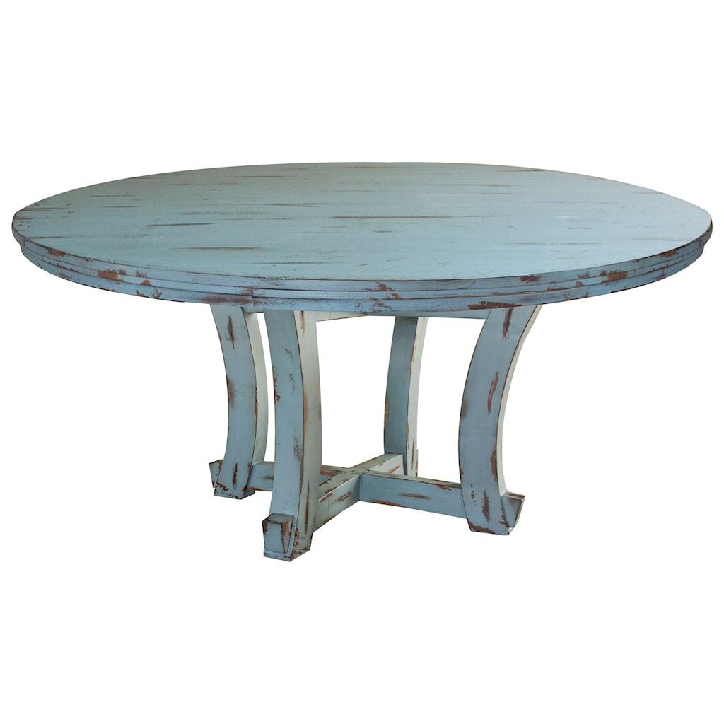International furniture direct celeste coastal cottage round distressed dining table