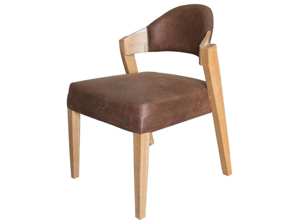 International Furniture Direct Comala Transitional Solid Wood Chair With Faux Leather Upholstery
