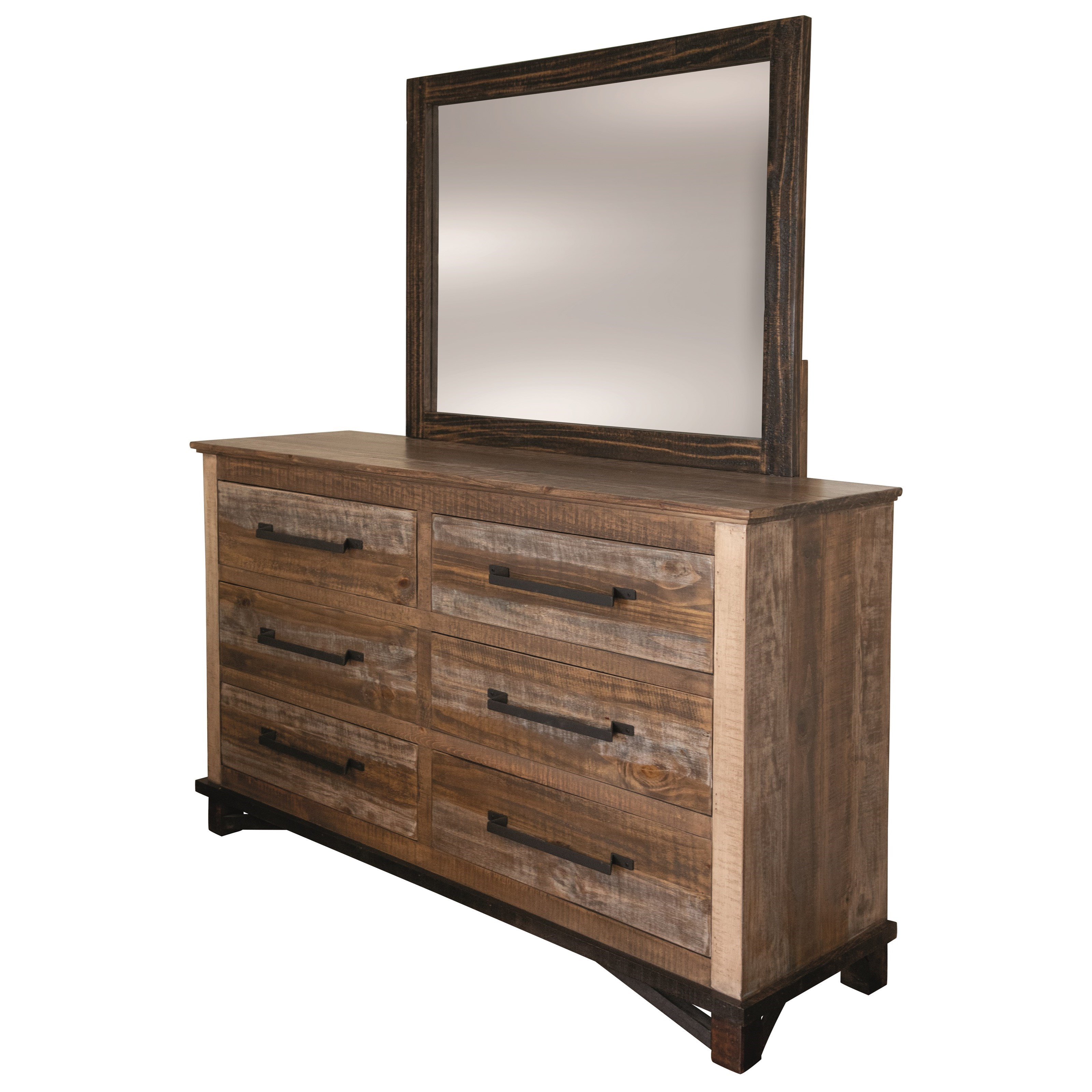 Dresser and Mirror with Felt-Lined Top Drawer