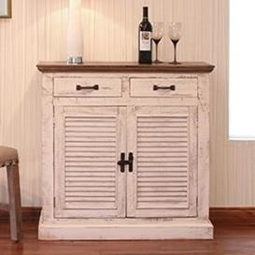 International Furniture Direct Havana Rustic Server with Shutter Doors