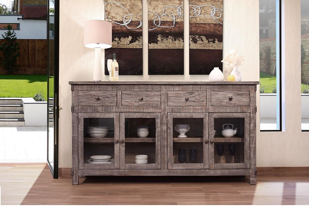 International Furniture Direct San AngeloRustic Solid Wood Console