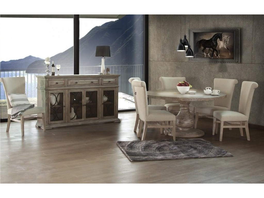 International Furniture Direct ValenciaConsole w/4 Glass Doors & 3 Drawers