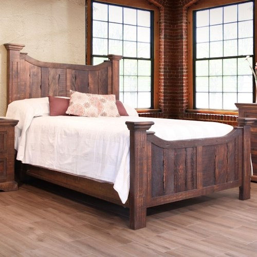 International Furniture Direct Madeira Rustic Queen Panel Bed