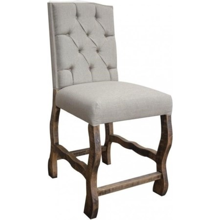 Upholstered Barstool with Tufted Back