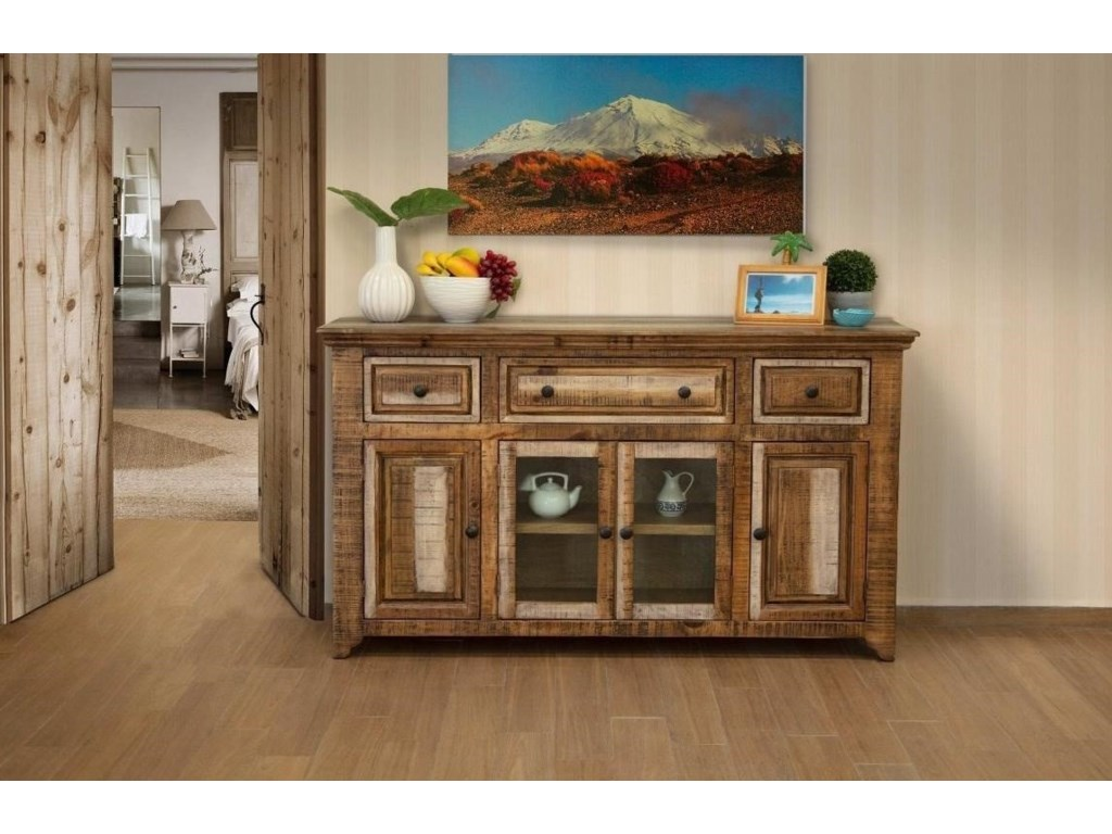 International Furniture Direct MarquezConsole with 3 Drawers and 4 Doors